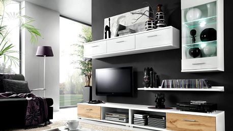 MALLIBU, obývací stěna, bílá/dub wotan DOPRODEJ