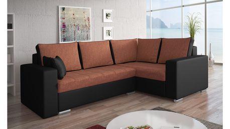 Rohová sedačka VALERIO BIS 5 pravá, oranžová látka/černá ekokůže DOPRODEJ