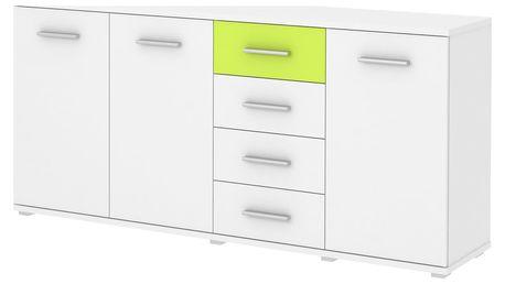 Komoda PAULI 05, bílá/zelená - DOPRODEJ