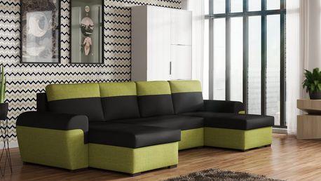 Rohová sedačka FILO U, černá látka/zelená látka