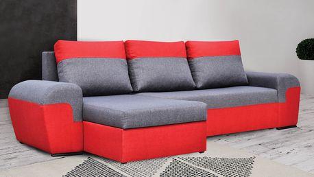SmartShop Rohová sedačka MORY KORNER, šedá/červená