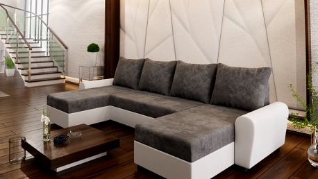 Rohová sedačka DAKAR U 2, tmavě šedá látka/bílá ekokůže