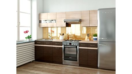 Kuchyně JUNONA 180/240 cm, korpus wenge/dvířka dub sonoma, wenge