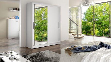 Šatní skříň WIESTA VI, bílý mat/zrcadlo