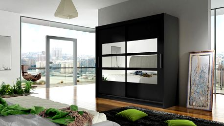 Šatní skříň BEIGA III, černý mat/zrcadlo