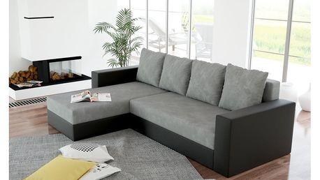 Rohová sedačka ERON 2, univerzální, šedá/černá ekokůže