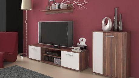 Obývací stěna Zuzana 3, švestka/bílá