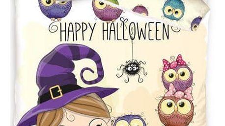 TipTrade Bavlněné povlečení Halloween Little Witch, 140 x 200 cm, 70 x 80 cm