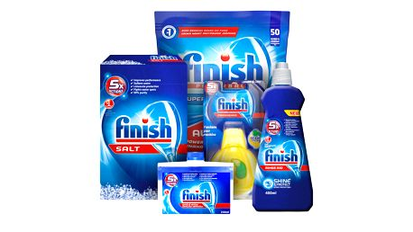 FINISH Starter pack pro myčky – tablety 50 ks, sůl, leštidlo, osvěžovač, čistič