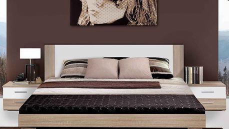 HELLEN, postel 180x200 cm s nočními stolky, dub sonoma/bílá