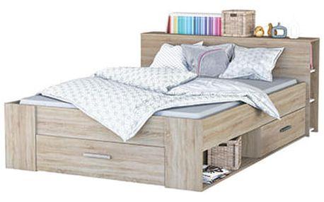 PACKET postel 160x200 cm, dub sonoma