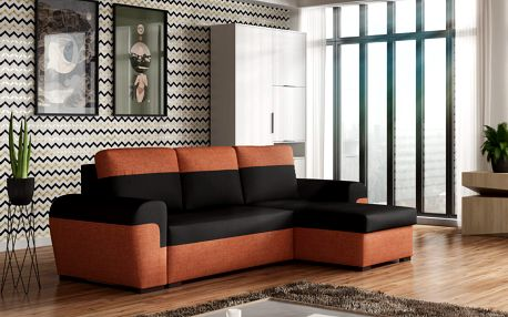 Rohová sedačka FILO, černá látka/oranžová látka