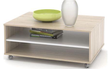Konferenční stolek ZIU05, dub sonoma/bílá