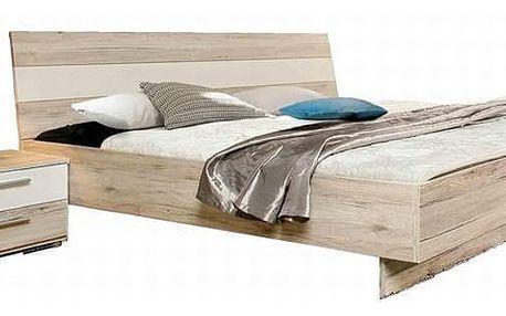 VALERIJE, postel VALL18 180x200 cm, dub pískový/bílá