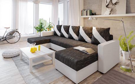Rohová sedačka ASTANA U, černá látka/bílá ekokůže