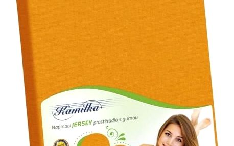 Bellatex jersey prostěradlo Kamilka oranžová, 90 x 200 cm