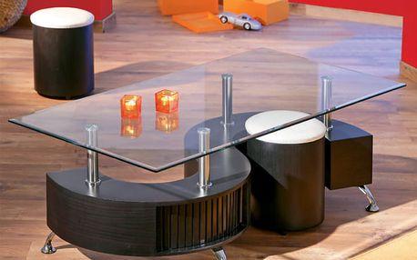 OTELO konferenční stolek + 2 taburetky, ořech/bílá ekokůže