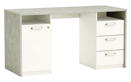 STENFORD psací stůl, bílá/beton