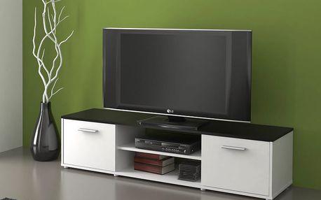 Televizní stolek ZIU01, bílá/černá