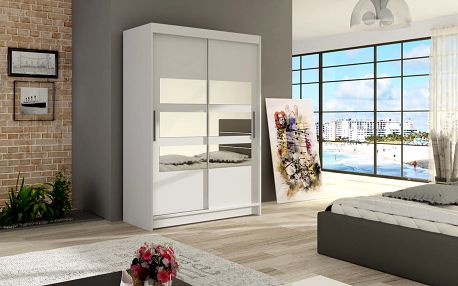 Šatní skříň MAIAMI V, bílý mat/zrcadlo