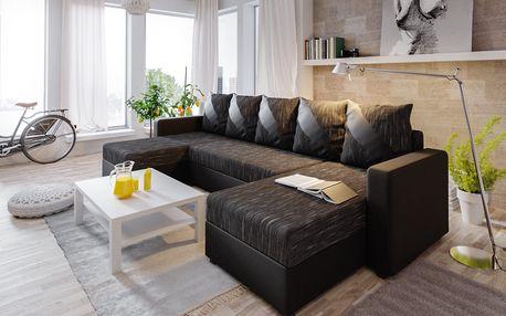 Rohová sedačka ASTANA U, černá látka/černá ekokůže