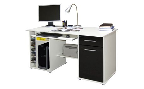 Praktický PC stůl LJUBOR, bílá/černá