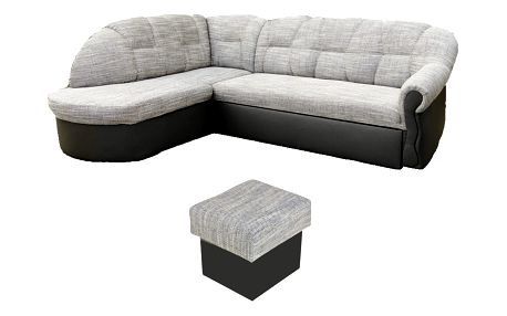 Rohová sedačka SANITANA, levá, šedá + taburet zdarma z EXPOZICE PRODEJNY