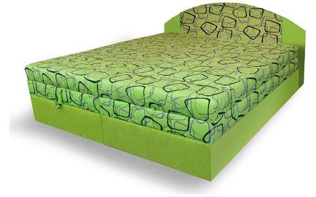 Polohovací čalouněná postel VESNA 180x200 cm, zelená látka