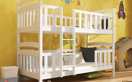 Patrová postel FRANKLIN 80x180 cm, masiv borovice/barva: bílá
