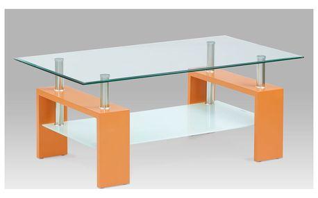 Konferenční stůl, oranžová/sklo čiré, mléčná polička, AF-2024 ORA
