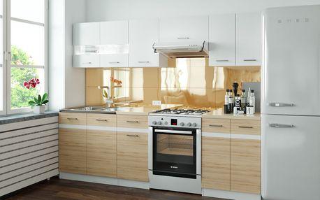 BRW Kuchyň Junona 240 bílý lesk/dub san remo světlý