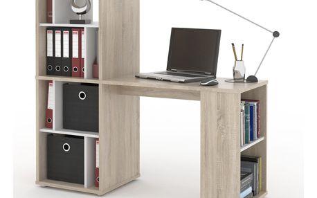 NU psací stůl SETTE, dub sonoma/bílá DOPRODEJ