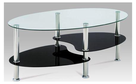 Konferenční stolek KSGCT-302 GBK1, čiré sklo/černé sklo/leštěný nerez