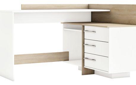 TALES, univerzální rohový psací stůl, bílá/dub sonoma