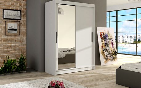 Šatní skříň MAIAMI VI, bílý mat/zrcadlo