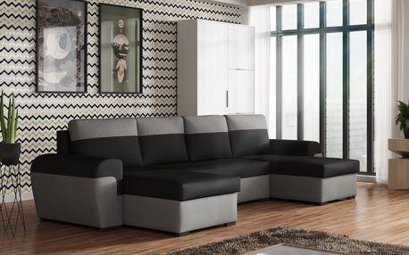 Rohová sedačka FILO U, černá látka/šedá látka