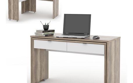 NU psací stůl DUE, dub canyon/bílá DOPRODEJ