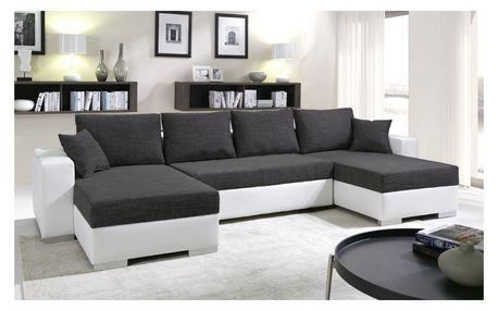 SmartShop Rohová sedačka KENZO 3, černá/bílá ekokůže