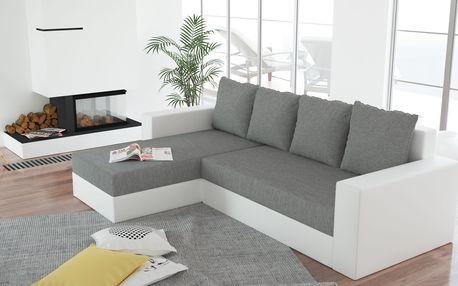 Rohová sedačka ERON 3, univerzální, šedá/bílá ekokůže DOPRODEJ