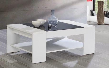 BRADY, konferenční stolek, bílá/černé sklo DOPRODEJ