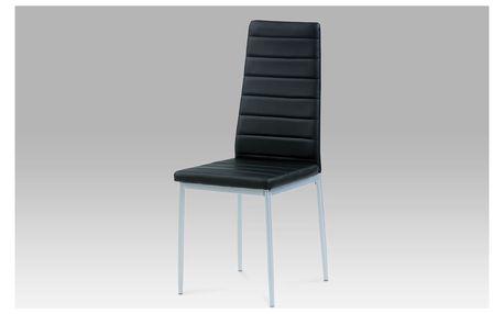 Jídelní židle DCL-117 BK, koženka černá / šedý lak