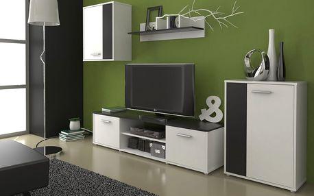 Obývací stěna Zuzana 2, bílá/černá