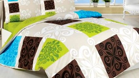 Bedtex Bavlněné povlečení Sedef zelená, 220 x 200 cm, 2 ks 70 x 90 cm