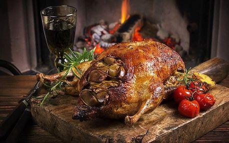 Husí hody o třech chodech s láhví svatomartinského vína pro 1–6 osob ve Švejk Restaurant