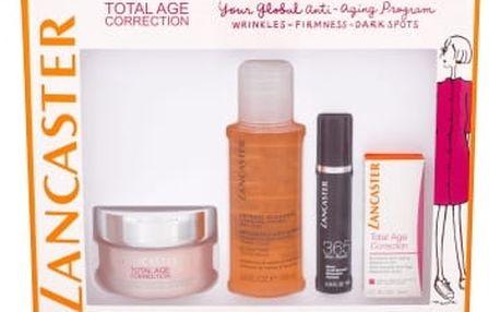 Lancaster Total Age Correction dárková kazeta proti vráskám pro ženy denní pleťová péče SPF15 50 ml + olejová esence 3 ml + čisticí pleťová voda 3v1 100 ml + pleťové sérum 365 Skin Repair 10 ml