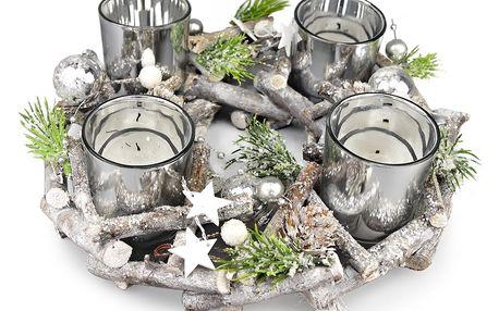 Adventní ratanový svícen Invierno šedá, pr. 23 cm