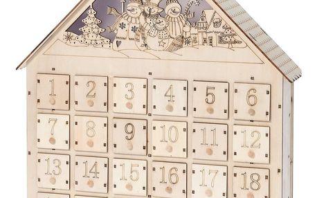 Adventní LED dřevěný kalendář Snowmen, , 37,5 x 43 cm