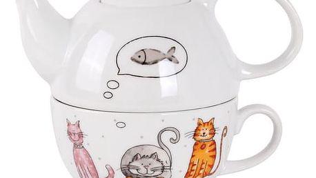 Kitos konvička na čaj 470ML se šálkem Kočka a pes 360ML - kočka