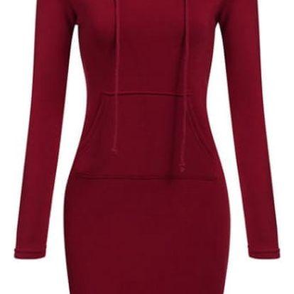 Teplákové šaty s kapucí a klokankou - 3 barvy