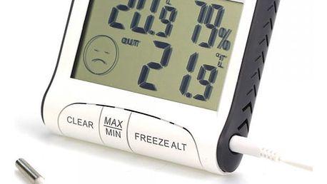 Venkovní a vnitřní teploměr s vlhkoměrem a LCD displejem